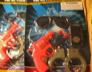 Lot 2 FBI action 7 piece play sets cops n robbers police gun cuffs shades