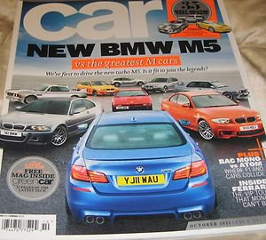 Car magazine October 2011, issue 591 BMW M5 free green car mag FERRARI