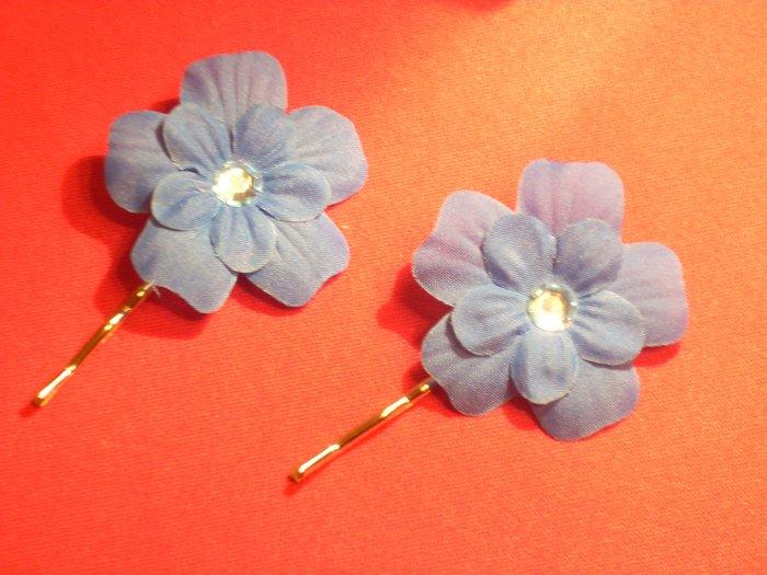 Bobby Pin--Blue Flower