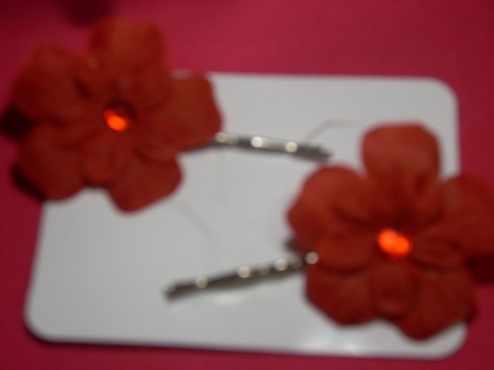 Bobby Pin-- Red Flower