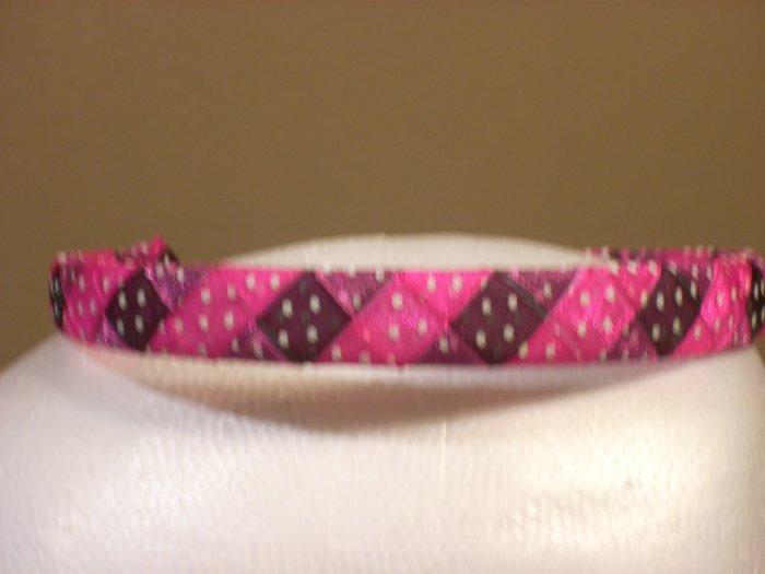 Woven Headband--Pink & Black