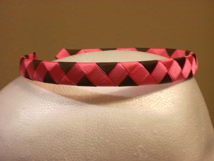 Woven Headband--Pink & Brown