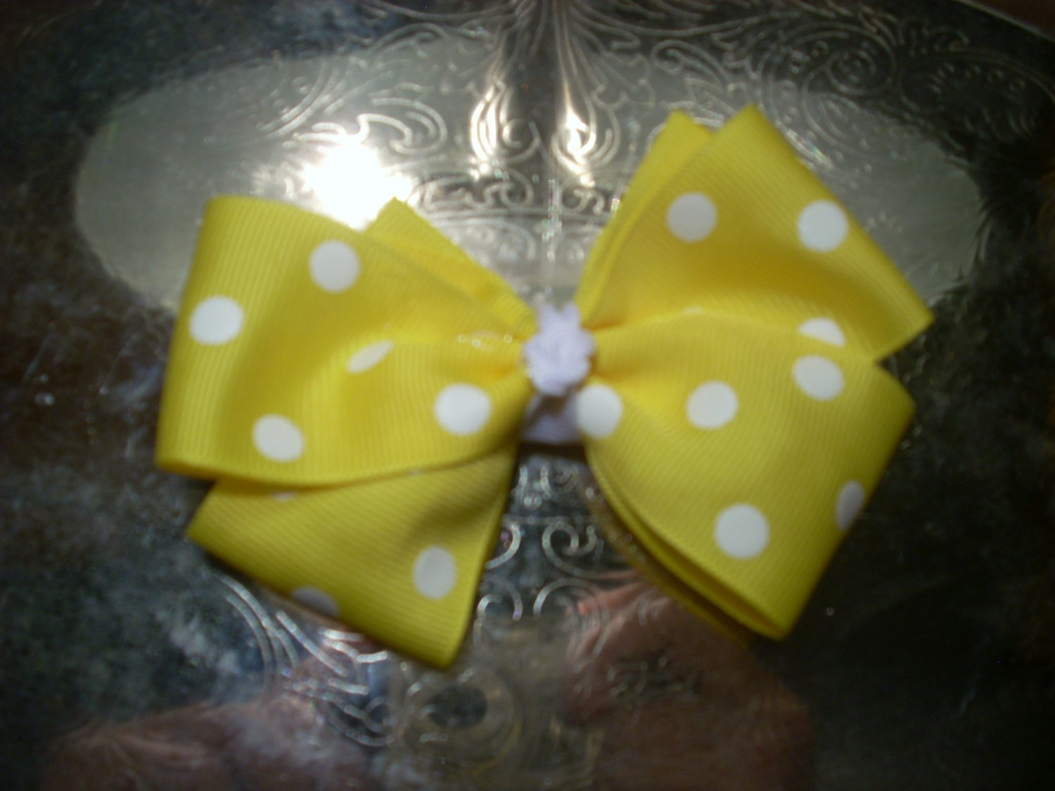 Yellow Polka Dots Boutique Bow
