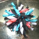 Korker bow; teal, pink, black