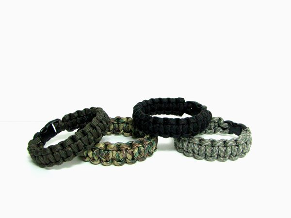 Set of 4 Paracord Bracelets, Choice of Size and Color
