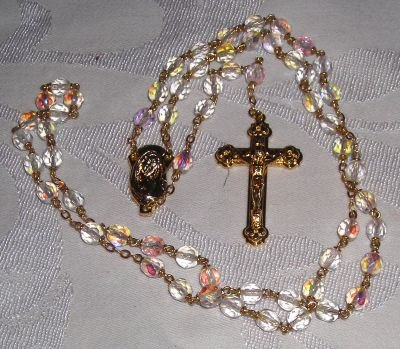 Fire Polished Rosary Gold Colored Center & Crucifix
