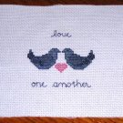 2 Doves Love One Another Completed Cross Stitch