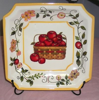 Basket of Apples Decorative Plate with Stand