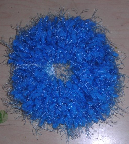 Fun Fur Handmade Crocheted Scrunchie Nobby Blue