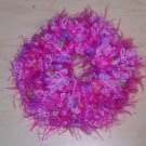 Fun Fur Handmade Crocheted Scrunchies Corded Pink Fur