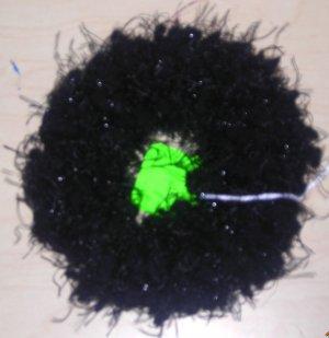 Handmade Crocheted Hair Scrunchie Black Nobby