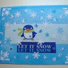 Hollaa holiday card: Let It Snow penguins handmade ang