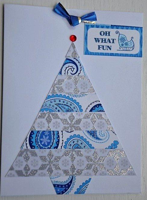 Hollaa holiday card: Christmas Tree Oh What Fun handmade ang