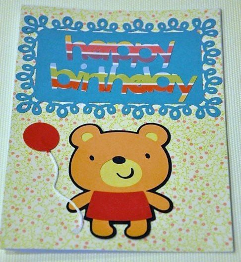 Hollaa birthday card: Birthday Bear and the red balloon ann