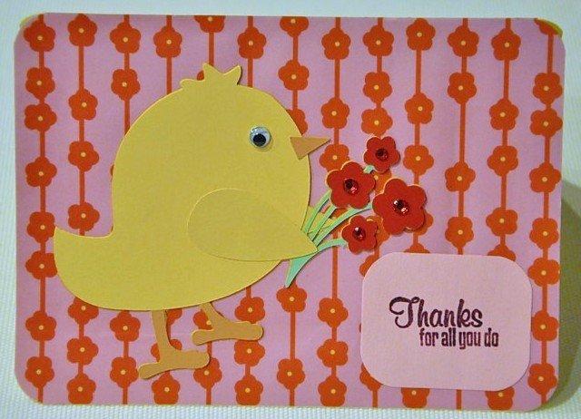 Hollaa Thank you card: Bird with Flowers ann