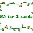 $5 for 3 card special