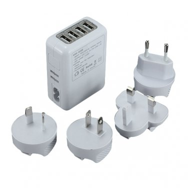 Universal 2.1A 4-Port USB International Travel Charger Power Adapter with 4 Plug - White