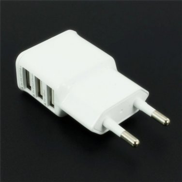 Universal EU Plug 3-Port USB Charger White