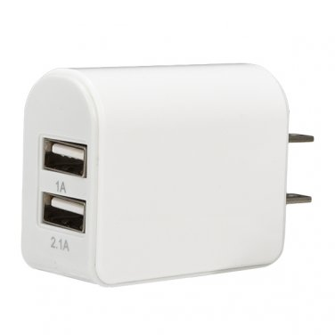 15W Dual USB Ports Adapter Wall Travel US Plug Phone Charger Adapter iPhone 6s 6 Samsung - White