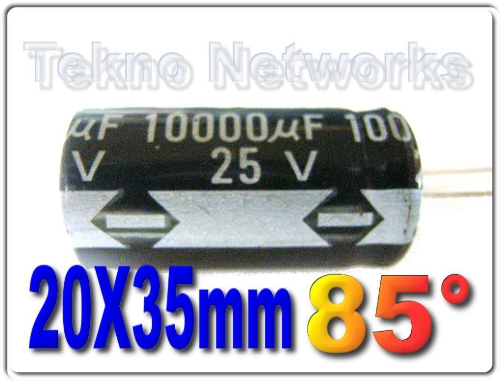 10000uF 25V 85° 20x35mm Electrolytic Capacitors - 10pcs
