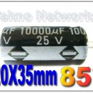 10000uF 25V 85° 20x35mm Electrolytic Capacitors - 10pcs