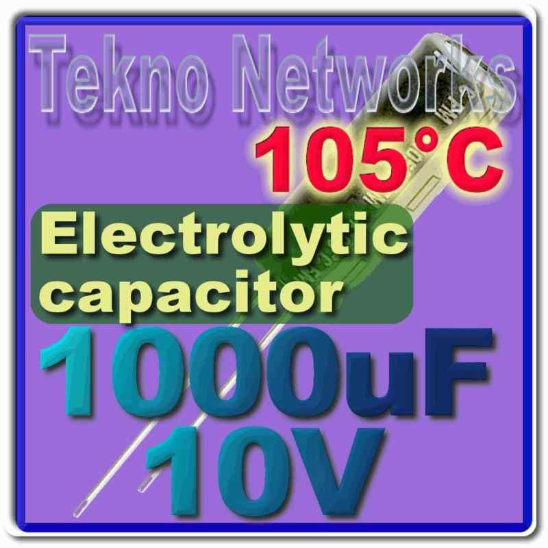 Panasonic - 1000uF 10VDC 105 deg 10mm X 12.5mm - 10pcs