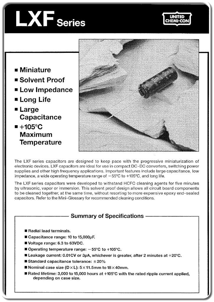 United-Chemi LXF Series 1000uF 10V 10x20 20% 105° 10pcs