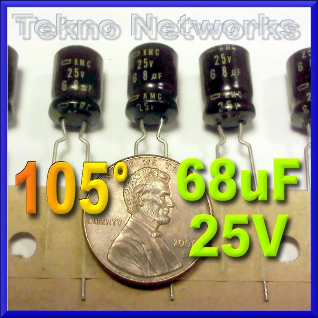 68uF 25V 105° Electrolytic Capacitors - 20pcs