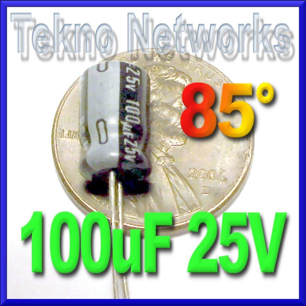 100uF 25V Electrolytic Capacitor USA+Tracking 100pcs