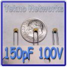 150pF 100V 20% Ceramic Capacitors - 100pcs