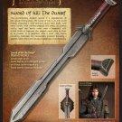 The Hobbit Sword of Kili the Dwarf w/ Plaque COA