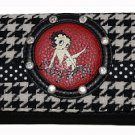 Betty Boop Synthetic Leather Cotton Houndstooth Ladies Wallet