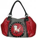 Betty Boop Synthetic Leather Cotton Houndstooth Handbag