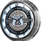 "Route 66 17"" White Neon Wall Clock"