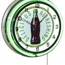 "Coca-Cola 60s Bottle & Logo 18"" Double Green Neon Wall Clock"