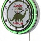 "Sinclair Dino Gasoline 18"" Double Green Neon Wall Clock"