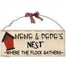 """Nana & Papa- 10"""" x 4"""" Wooden Sign Home Decor Plaque"""