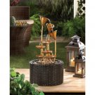 Golden Metallic Lily Outdoor Water Fountain
