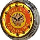 "1920s Shell Gasoline 17"" Yellow Neon Wall Clock"