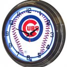 "Chicago Cubs 17"" Blue Neon Wall Clock"