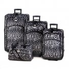 Black And White Leopard Print Polyester 4-Piece Luggage Set
