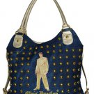 Elvis Presley Gold Lame Studded Denim/ Synthetic Leather Shopping Bag