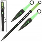 FULL TANG Z Killer Ninja Zombie Sword and  2 pc Throwing Knife set- Green