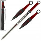 FULL TANG Z Killer Ninja Zombie Sword and  2 pc Throwing Knife set- Red