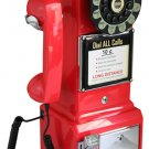 "Crosley 1950s Style Retro Mountable 18"" Red Rotary Pay Phone"