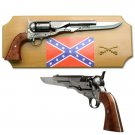 Civil War Confederate Flag Replica Non-Firing Gun Knife Display with Plaque