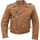 """AllState Leather Men's Brown Premium Buffalo Leather Motorcycle Jacket Size 44"""" Chest"""