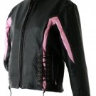 Hawg Hides  Lady's Black Solid Leather Motorcycle Jacket with Pink Stripe (Small)