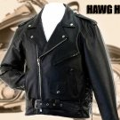 Hawg Hides Men's Solid Leather Motorcycle Jacket (XL)