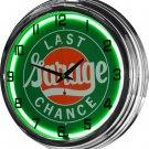 "Last Chance Garage 17"" Green Neon Wall Clock"
